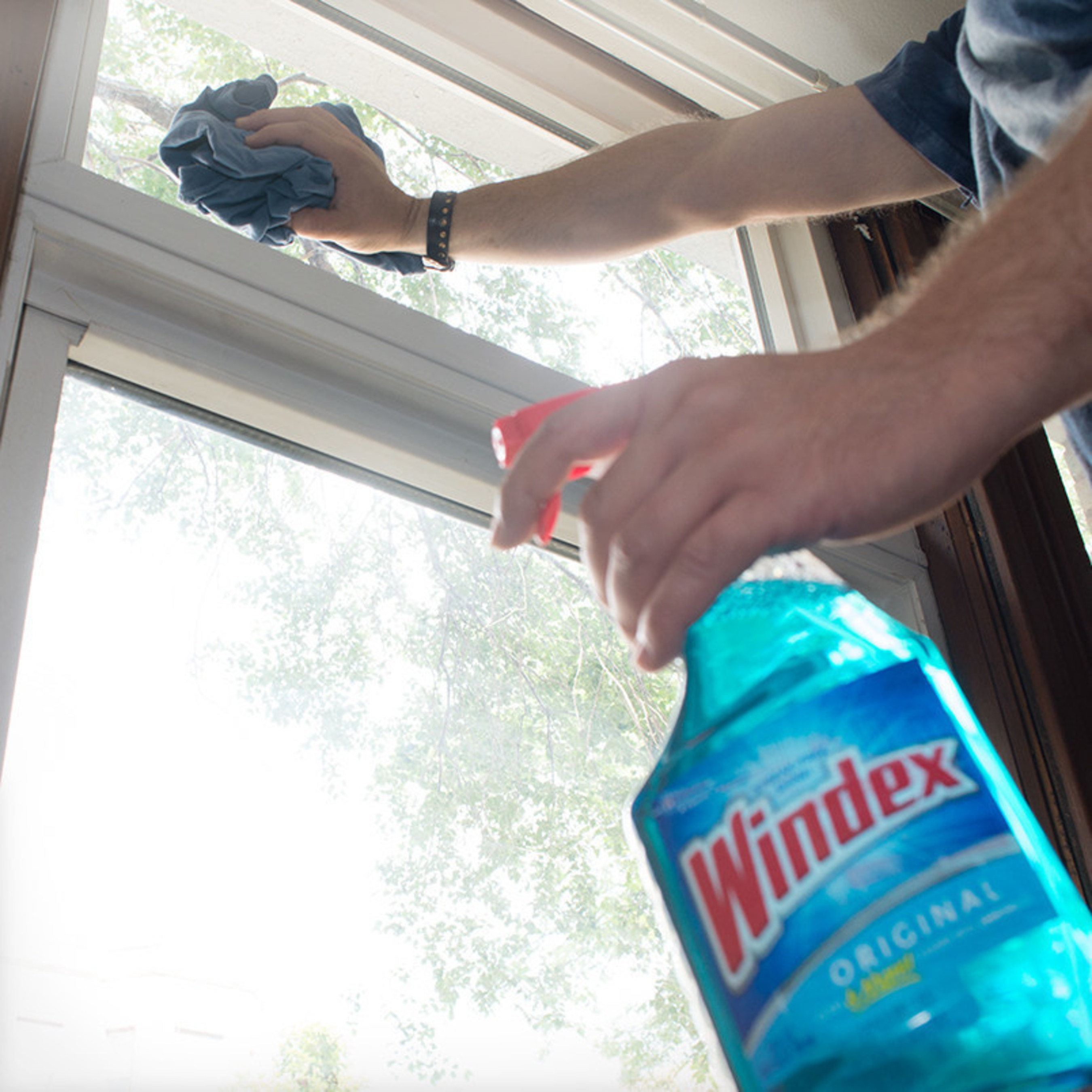 How to clean like a pro: start from top and move to bottom using Windex(R) Original Glass Cleaner