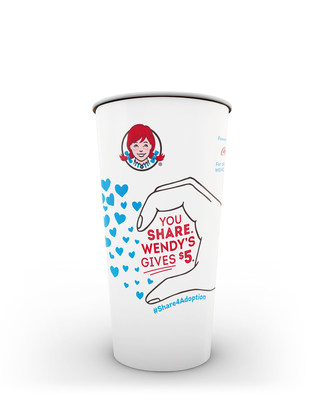Wendy's is bringing back the #Share4Adoption campaign to help children in foster care find their forever homes. Wendy's will donate $5 to the Dave Thomas Foundation for Adoption for each customer who posts a picture of themselves completing the heart on specially designed Wendy's cups to social media with #Share4Adoption. Wendy's will donate up to $500,000 to support the Dave Thomas Foundation for Adoption's efforts to find permanent, loving homes for the more than 100,000 children waiting in foster care in the United States.