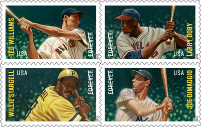 Willie Stargell fans stepped up to the plate in the Stamps Batted In (SBI) pennant race to position the Pittsburgh Pirate icon as the Most Popular Player (MPP) among four icons immortalized on the Major League Baseball All-Stars Forever stamps last summer. Williams took the lead at the beginning with DiMaggio nudging ahead a week prior to the First-Day-of-Issuance ceremony only to have Williams take it back. The Major League Baseball All-Star Forever stamp collectables can be purchased by calling 800-STAMP24 and at www.usps.com/play-ball.  (PRNewsFoto/U.S. Postal Service)