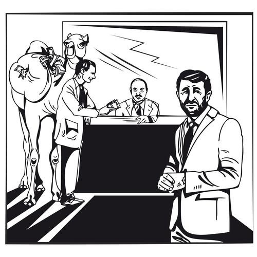 Syrian president Bashar Al-Assad is handing a camel-load of cash to Alexander Lukashenko of Belarus, while ...