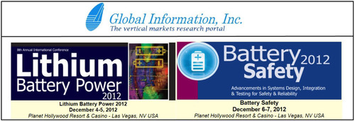 Global Information Inc (GII) -- Last Chance to Register for Battery Conferences in Las Vegas This December.  (PRNewsFoto/Global Information, Inc.)