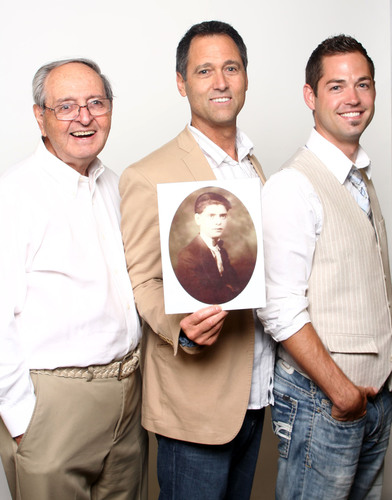 Pictured from left to right: Rocco Azzarito Sr., Rocco Azzarito Jr. (Holding Frank Azzarito's portrait), and Aaron Azzarito.  (PRNewsFoto/Terox Footwear)