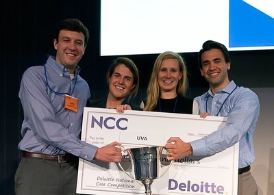 Darden School of Business students James Morris, Maeve McGilloway, Claire Williams and Chris Nelson (L-R) emerge victorious at Deloitte's sixth annual National Case Competition
