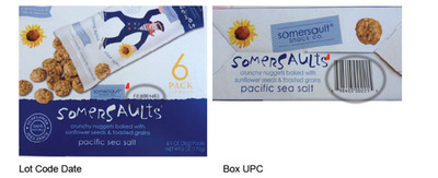 Lot Code Date/Box UPC.  (PRNewsFoto/Somersault Snack Co., LLC)