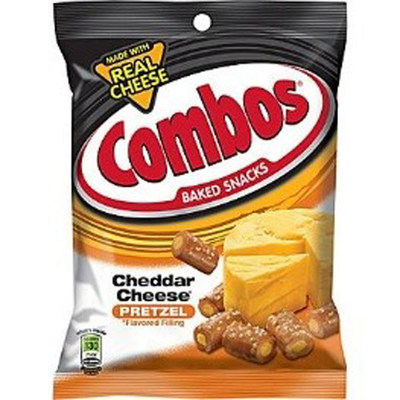 COMBOS CHEDDAR CHEESE PRETZEL - FAMILY PEG PACK - 6.3 OZ - 12/CA