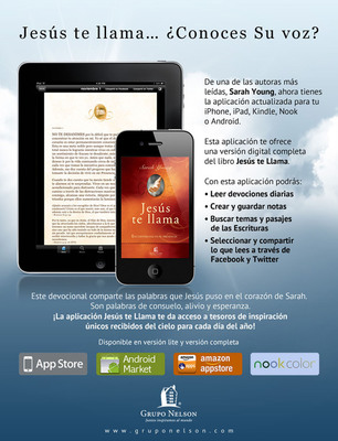 Jesus te llama: Una experiencia devocional diaria. Disponible ya para dispositivos iPhone, iPad, Android, Nook, y Amazon Kindle. www.jesustellamaapp.com.  (PRNewsFoto/Grupo Nelson)