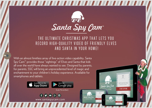 The coolest new app is now available just in time for Christmas - the Santa Spy Cam app! Download it now on the iTunes app store. The incredible new technology merges pre-formatted video scenes with your own photos to create a wonderfully believable story of Santa or his elves visiting your home! Spangler Candy Canes are featured in two of the scenes and links are provided within the app to go directly to the Spangler Candy website and purchase the exact canes used in the video!  (PRNewsFoto/Spangler Candy Company)