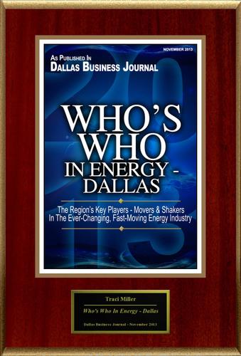 "Traci Miller Selected For ""Who's Who In Energy - Dallas"". (PRNewsFoto/American Registry) (PRNewsFoto/AMERICAN REGISTRY)"