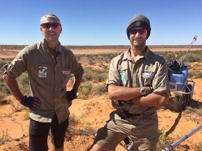MARK GEORGE (LEFT) AND SEBASTIAN COPELAND ON THEIR WAY TO COMPLETE THE LONGEST AND HARDEST LATITUDINAL CROSSING OF AUSTRALIA'S SIMPSON DESERT'S, 651KM ON FOOT AND WITHOUT SUPPORT