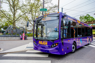 The Philly PHLASH returns just in time for high tourism season to transport visitors and locals all around town to key sights and attractions. (Photo by J. Fusco for Visit Philadelphia).  (PRNewsFoto/Independence Visitor Center Corporation)