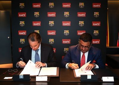 IronFX Global announces official partnership with FC Barcelona - Left hand side: Javier Faus, first vice president of FC Barcelona, right hand side: Markos A. Kashiouris, Chairman & CEO of IronFX Global (PRNewsFoto/IronFX Global Limited)