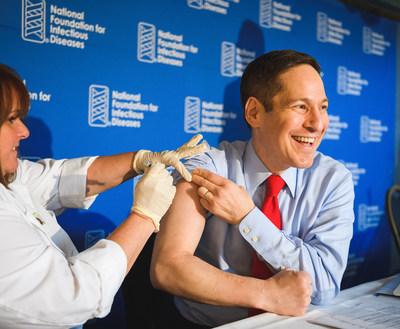 """Tom Frieden, M.D., M.P.H., director of the Centers for Disease Control and Prevention, kicks off the 2016-2017 flu season by getting vaccinated at the National Foundation for Infectious Diseases news conference. In revealing the latest U.S. flu vaccine coverage, he noted a measurable drop among those 50 years and older, asking """"if 9 out of 10 doctors are getting a flu vaccine, why aren't you?"""""""