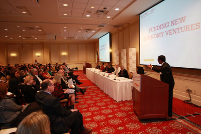 Supporters gather to rally for InvestMaryland Day and participate in panel discussion on funding new economy ventures.