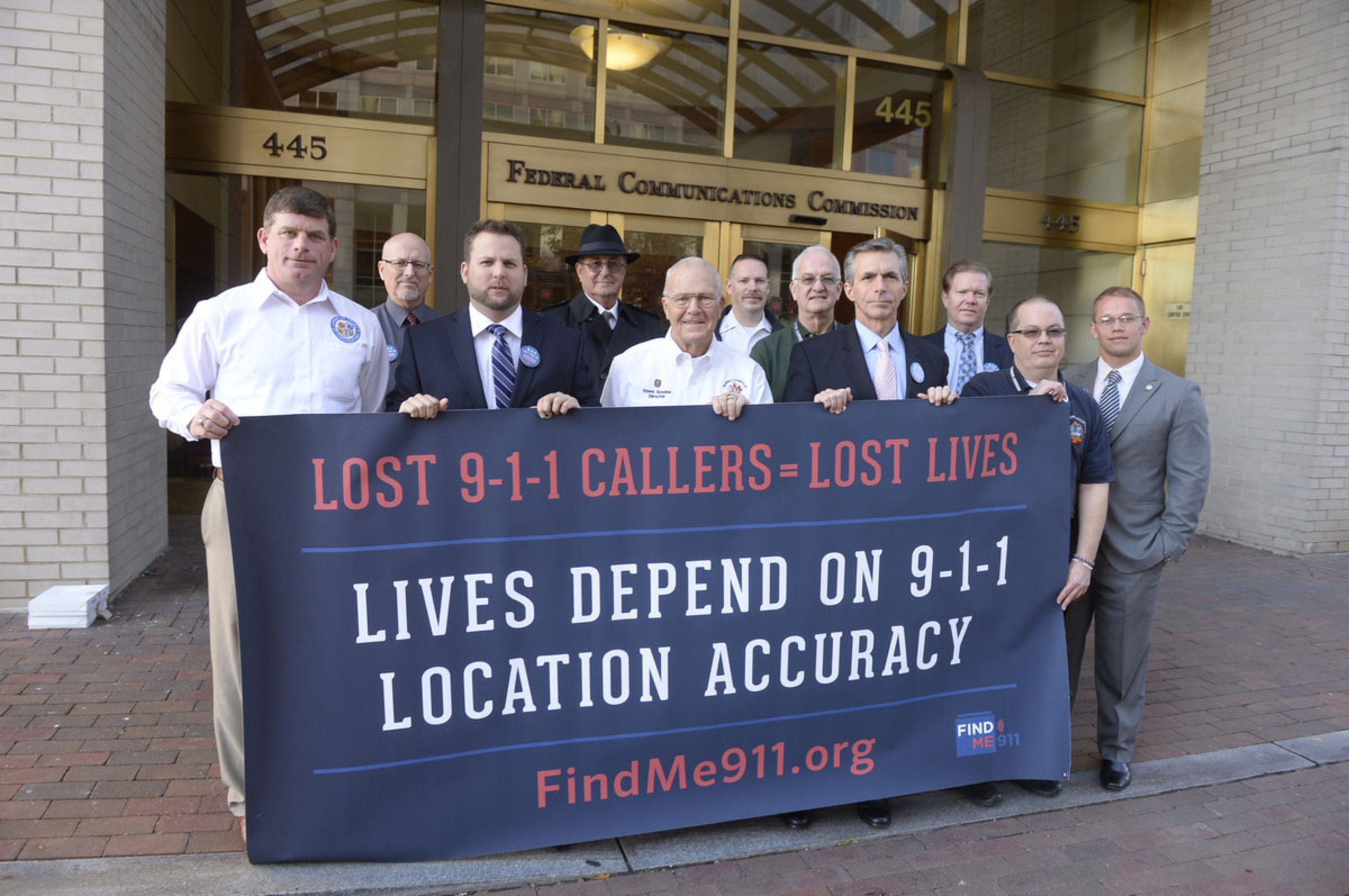 Jason Barbour, 911 Director for Johnston County, North Carolina, joins public safety leaders at event in Washington on November 18th to urge the FCC to improve 9-1-1 location accuracy.chart. (PRNewsFoto/Find Me 911 Coalition)