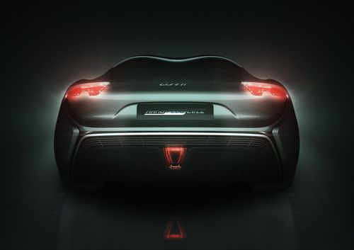 nanoFLOWCELL AG is to stage a world premiere as part of the Geneva International Motor Show 2014: the QUANT e-Sportlimousine – the first car equipped with nanoFLOWCELL® drive. QUANT e-Sportlimousine back. (PRNewsFoto/NANOFLOWCELL AG)