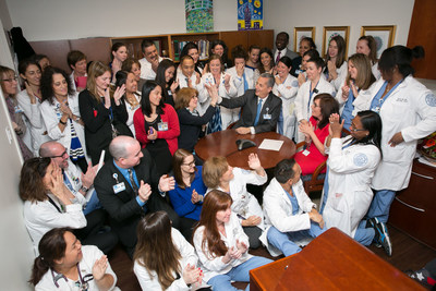 Hospital for Special Surgery nurses and leadership celebrate after hearing the hospital is first in the state of New York to receive a 4th Magnet designation.