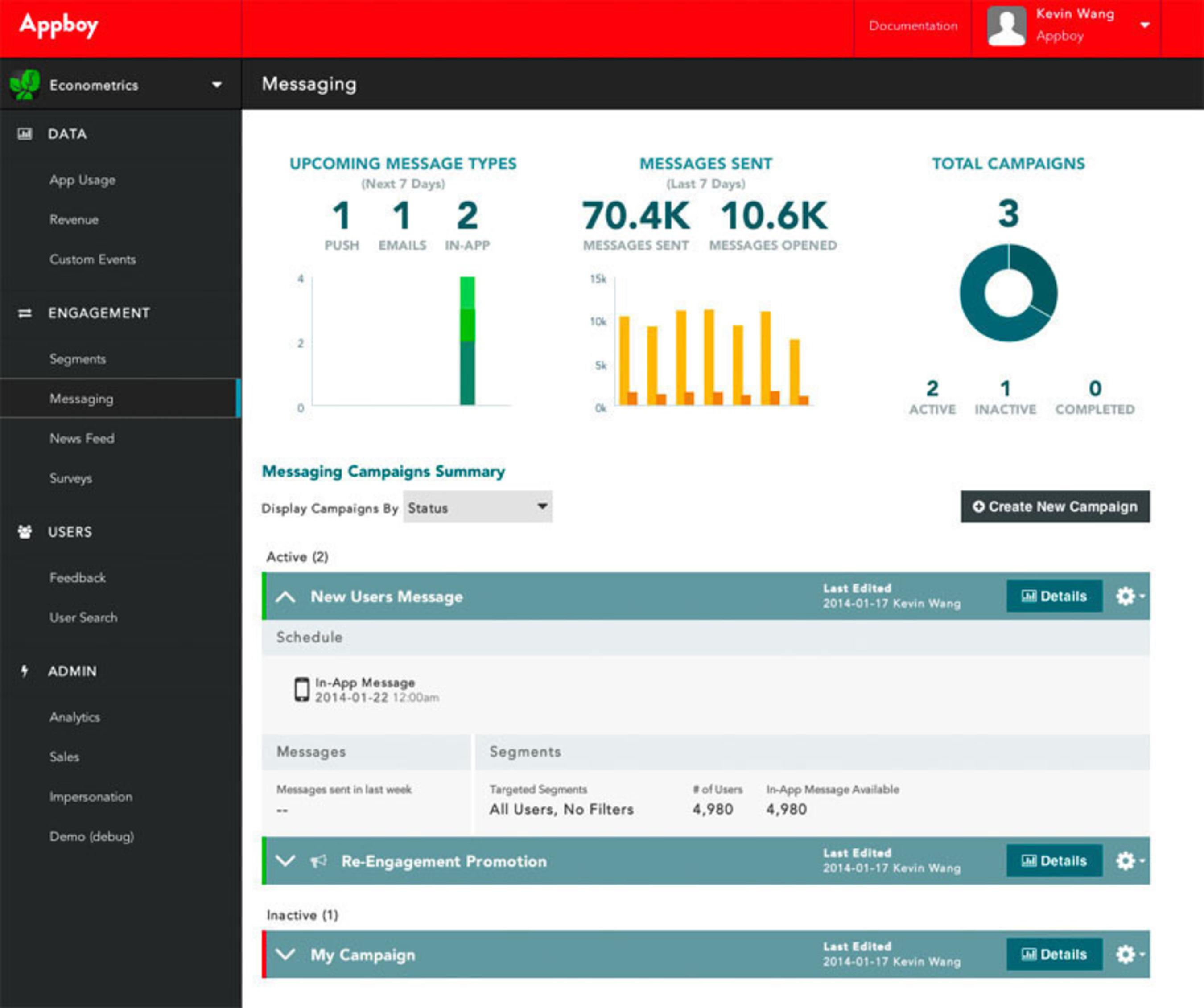 Appboy Marketing Automation Dashboard.  (PRNewsFoto/Appboy)