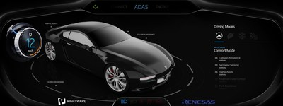 Rightware Digital Instrument Cluster with ADAS Features - Demo for Renesas R-CAR H3 (PRNewsFoto/Rightware) (PRNewsFoto/Rightware)