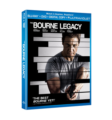 The Bourne Legacy on Blu-ray, Combo Pack and DVD on December 11, 2012.  (PRNewsFoto/Universal Studios Home Entertainment)