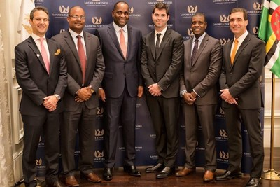 From left to right: Mr Jeremy Savory, Managing Partner, Savory & Partners, His Excellency Emmanuel Nanthan, Director of Dominica CBIU, The Honorable Roosevelt Skerrit, Prime Minister of Dominica, Mr. John Zuliani, CEO of Trans-Americaninvest Dominica, Dr Vince Henderson, Ambassador of Dominica and Permanent Representative to United Nations, Mr. Mark Marcello, Director of Trans-Americaninvest Dominica. (PRNewsFoto/Savory & Partners)