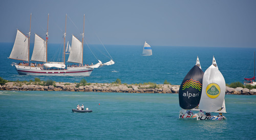 The Chicago Match Cup, a $100,000 sailing competition, and the Tall Ships(R) Chicago 2013 Festival will set sail at Chicago's Navy Pier, August 7 - 11, 2013. (PRNewsFoto/Chicago Match Race Center, Andy Carter/AWMRT)