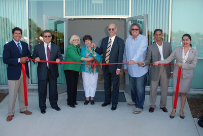 It's all smiles at the Ribbon Cutting Ceremony for the new campus of United States University, San Diego. (L-R) Damian Esparza (USU Trustee), Rudolph Estrada (USU Board of Trustees Chairman), Dr. Edith Neumann (USU Provost/Chief Academic Officer), Pam Bensoussan (City of Chula Vista Councilmember), Dr. Yoram Neumann (USU President/CEO), Suren Naidoo (USU Trustee), Jacqueline Reynoso (USU Trustee).  (PRNewsFoto/United States University)