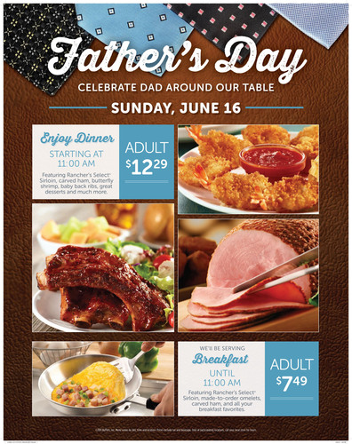 Make Dad King At Ryan's®, HomeTown® Buffet And Old Country Buffet® This Father's Day, June 16