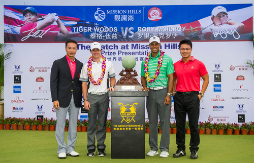 Prize Presentation for The Match at Mission Hills--Tiger Vs. Rory. (PRNewsFoto/Mission Hills China) (PRNewsFoto/MISSION HILLS CHINA)