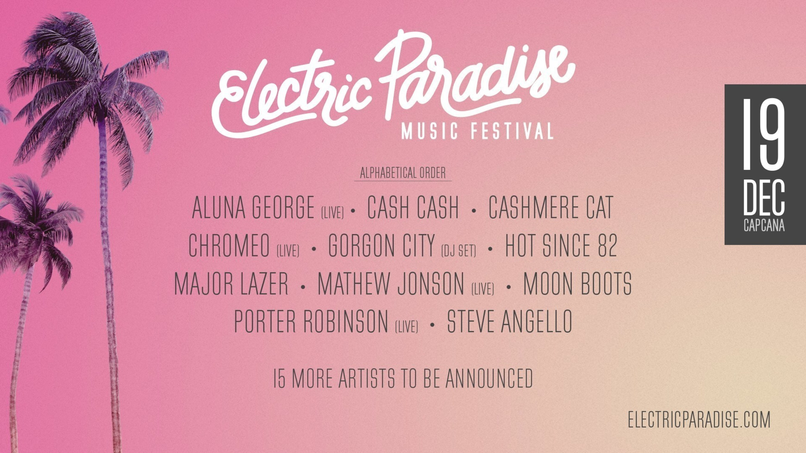 Major Lazer, Chromeo, Porter Robinson, & Gorgon City Lead Electric Paradise Music Festival's Phase 1 Lineup