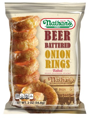 Nathan's Famous(R) snack-line introduces on trend onion-flavored snack with beer battered onion rings