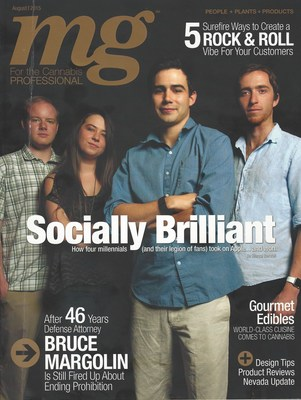 Cover of the August issue of MG Magazine featuring MassRoots.