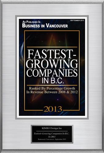 "KIMBO Design Selected For ""Fastest-Growing Companies In B.C. In 2013"". (PRNewsFoto/KIMBO Design) (PRNewsFoto/KIMBO DESIGN)"