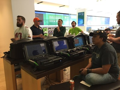 Wounded veterans compete in a Madden NFL '15 Tournament at the Microsoft Store.