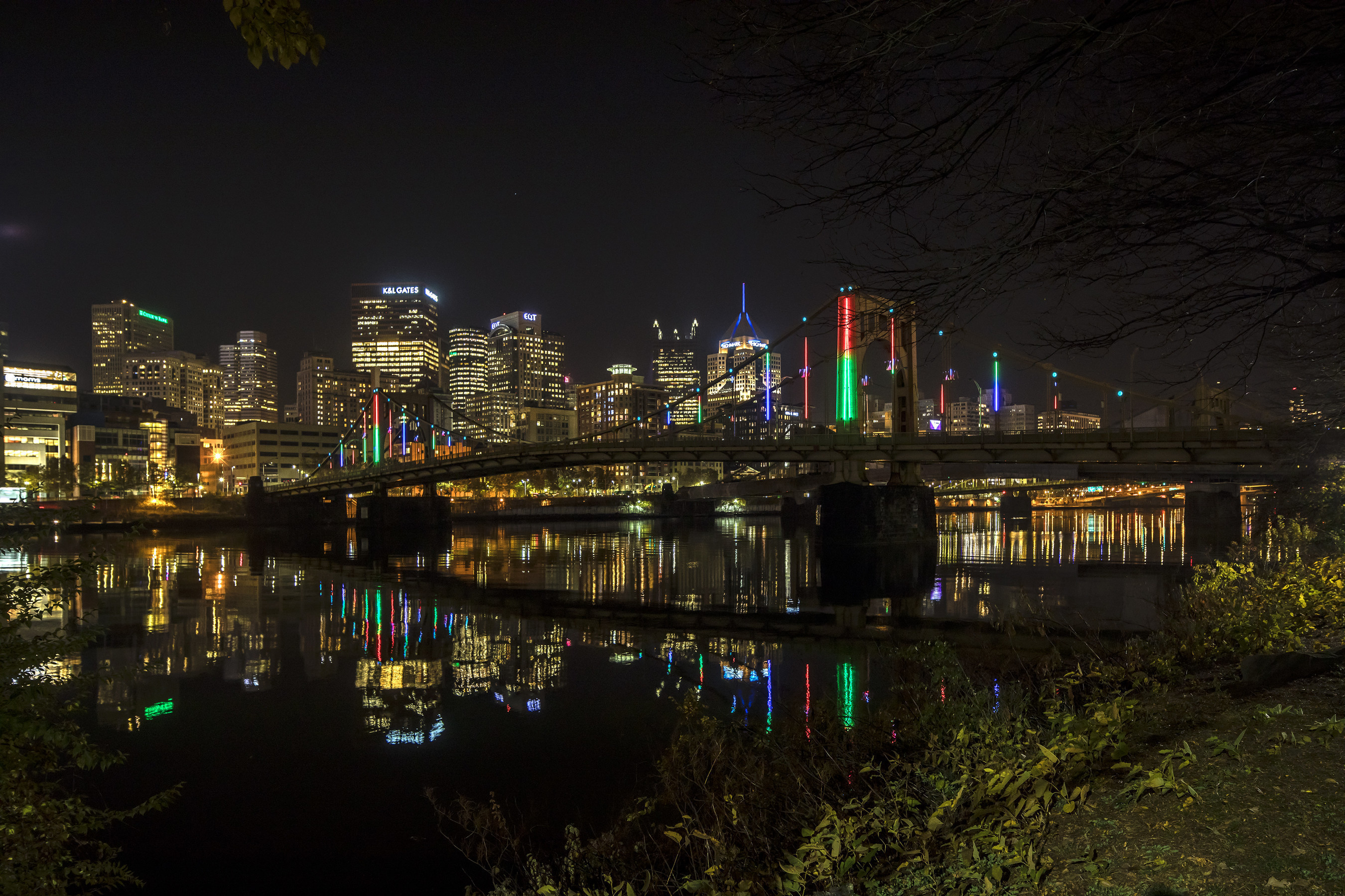 Sustainability and innovation are highlighted in Pittsburgh this holiday season as one of the city's famed bridges is awash in light and colors thanks to the  Energy Flow bridge lighting installation, powered in part by wind energy. Photo credit: Roy Engelbrecht