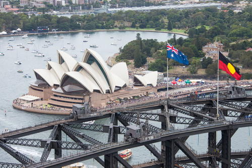 26/1/2014. Australia Day Sydney.  Sydney Celebrates Australia Day on Sydney Harbour  - Sydney Opera House and Harbour Bridge. Credit: Ethan Rohloff / Destination NSW (PRNewsFoto/Destination NSW)