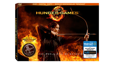 Exclusive The Hunger Games DVD movie gift set with a mockingjay pendant and digital UltraViolet copy, available only at Walmart.  (PRNewsFoto/Wal-Mart Stores, Inc.)