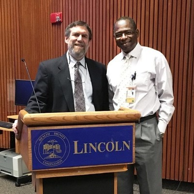 At a recent Medical Grand Rounds at Lincoln Medical & Mental Health Center, Bronx, NY, David Goldfarb, MD, FACP, FASN, FNKF presented on the topic of Renal Replacement Therapy: What the Primary Care Provider Needs to Know. Standing with Dr. Goldfarb is Dr. Jean Daniel, Continuing Medical Education Director at Lincoln Medical & Mental Health Center.