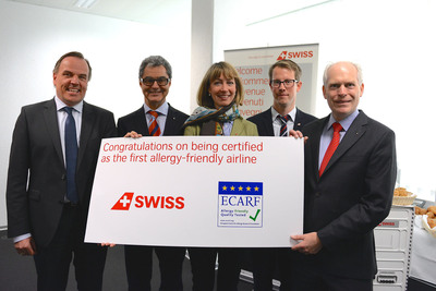 """SWISS becomes the world's first certified """"allergy-friendly"""" airline. From left to the right : Frank Maier (Head of Product&Services SWISS), Prof. Dr. Peter Schmid-Grendelmeier (Vice President of the foundation board of aha! Swiss Allergy Centre), Sarah Klatt-Walsh (Head of Inflight SWISS), Jan Trachsel (Inflight Culinary Development SWISS), Prof. Dr. Torsten Zuberbier (Director of ECARF). (PRNewsFoto/Swiss International Air Lines)"""