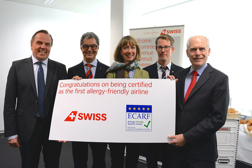 "Swiss International Air Lines (SWISS) becomes the world's first certificated ""allergy-friendly"" airline. In May, flights will have lactose- and gluten- free food/beverage alternatives. Depending on the length of the flight, SWISS guests with allergies or other intolerances may request special snacks (candy bars, yoghurt or cakes). Special meals can be tailored to meet needs in all seating classes on long-haul services and in Business Class within Europe up to 24 hours before departure. No fresh flowers on board, irritable air fresheners and synthetic stuffed pillows replace down-filled. SWISS teamed up with the European Centre for Allergy Research Foundation.   (PRNewsFoto/Swiss International Air Lines)"