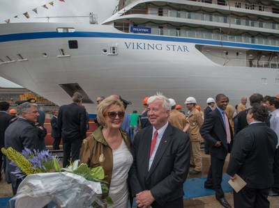 "Viking Cruises Chairman Torstein Hagen, a native of Norway, with Trude Drevland, mayor of Bergen, Norway. Drevland will serve as godmother to Viking Star, the company's first ocean ship. The 930-passenger Viking Star is pictured at its ""float out"" ceremony at Fincantieri's Marghera shipyard outside Venice, Italy. The ""float out"" marks a major construction milestone - the first time the ship touches water - and kicks off the final stage of outfitting and interior build-out. Viking Star will be christened in Bergen, Norway, on May 17, 2015 - Norwegian Constitution Day. (PRNewsFoto/Viking Cruises)"