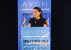 Salma Hayek Pinault Presents at 2nd Avon Global Communications Awards.  (PRNewsFoto/Avon Foundation for Women)