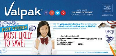 As Parents Ramp Up for Back to School Season, Valpak Offers BackPack Giveaway (PRNewsFoto/Valpak)