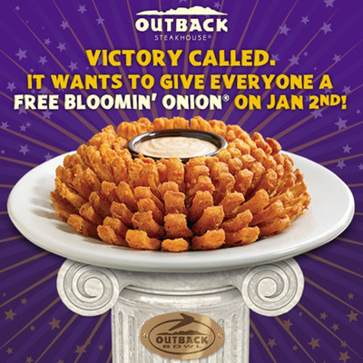 Geaux Tigers! Outback Bowl Champs LSU Score Free Bloomin' Onion Appetizer For America.  (PRNewsFoto/Outback Steakhouse)