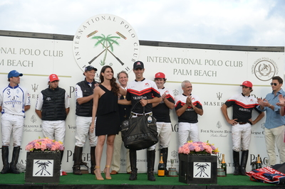 "La Martina Maserati Centennial MVP Award presented to Clemente Zavaleta at the USPA Maserati U.S. Open Polo Championship(R), the first polo tournament of the ""Maserati Centennial Polo Tour"" organized in collaboration with La Martina. (PRNewsFoto/Maserati North America)"