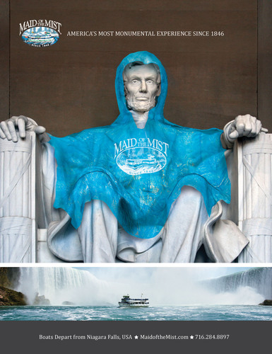 The Maid of the Mist unveils new ad campaign linking America's monuments to iconic Niagara Falls tourist attraction. (PRNewsFoto/The Maid of the Mist) (PRNewsFoto/THE MAID OF THE MIST)