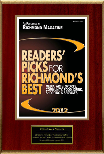 Cross Creek Nursery & Landscaping Selected For 'Readers' Picks For Richmond's Best'