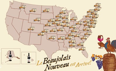 """Will Georges Dubouef's Beaujolais Nouveau wine make it to restaurants and retailers for November 17 release?  Track the """"race to market"""" on their Facebook page (www.georgesduboeuf.com)."""