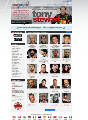 CelebCalls.com screen shot (home page). Schedule your call TODAY! http://www.celebcalls.com