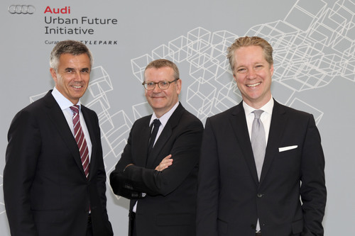 Peter Schwarzenbauer, Member of the Board of Management of Audi AG for Marketing and Sales, Mark Wigley, Dean ...