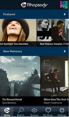 Rhapsody iOS Home Screen Featured Overview.  (PRNewsFoto/Rhapsody International)